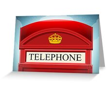 English Red Telephone Cabin Greeting Card