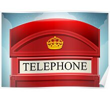 English Red Telephone Cabin Poster