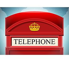 English Red Telephone Cabin Photographic Print