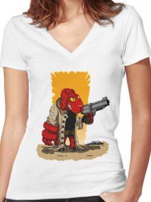 HELLSHEEP Women's Fitted V-Neck T-Shirt