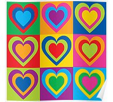 Pop Art Hearts Poster