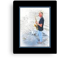 Mykonos Maxine & The Sax Player Canvas Print