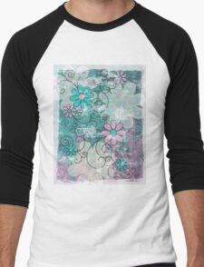 Grunge Floral Men's Baseball ¾ T-Shirt
