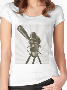 Vintage Movie Camera Women's Fitted Scoop T-Shirt