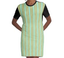 Classic Gold foil stripes on mint green Graphic T-Shirt Dress