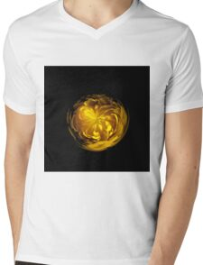 Yellow flower orb on black Mens V-Neck T-Shirt