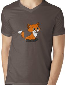 Happy Baby Fox Mens V-Neck T-Shirt