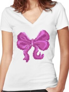 Pretty Pixel Bow Women's Fitted V-Neck T-Shirt