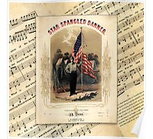 The Star Spangled Banner Vintage Song Sheet Poster