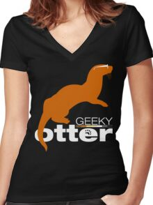 Geeky Otter! Women's Fitted V-Neck T-Shirt