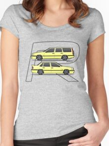 Volvo 850R T5-R Duo Creme Yellow Women's Fitted Scoop T-Shirt