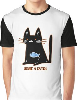 YOU'RE A CATCH - Black Cat Graphic T-Shirt