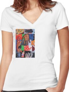 Funny Hands Women's Fitted V-Neck T-Shirt