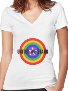 Rainbow Shield - United We Stand! Women's Fitted V-Neck T-Shirt