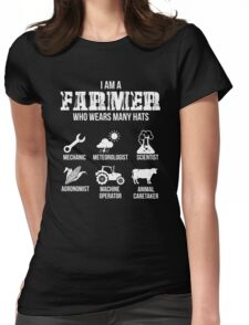 Many Hats of the Farmer Womens Fitted T-Shirt