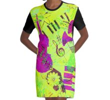 Psychedelic Music  Graphic T-Shirt Dress