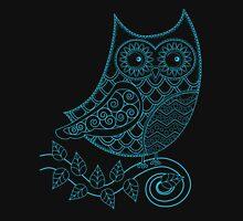 Owl Zendoodle Turquoise Blue Unisex T-Shirt