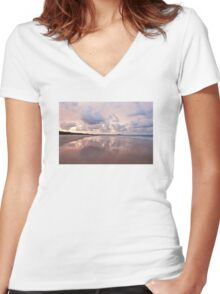 Mirror on Main Beach Women's Fitted V-Neck T-Shirt