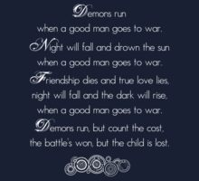 Doctor Who Demons Run poem - white and TARDIS blue Kids Clothes