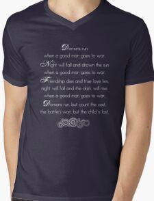 Doctor Who Demons Run poem - white and TARDIS blue Mens V-Neck T-Shirt