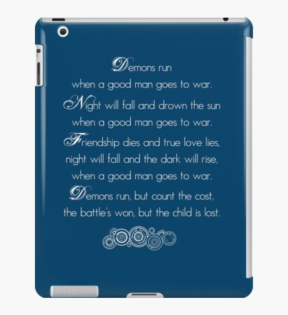 Doctor Who Demons Run poem - white and TARDIS blue iPad Case/Skin