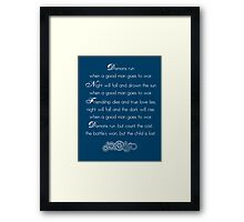 Doctor Who Demons Run poem - white and TARDIS blue Framed Print