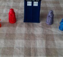 TARDIS and rainbow Daleks Sticker