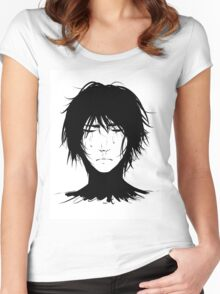 Black Hair & Neck - Male Women's Fitted Scoop T-Shirt