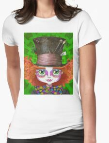 "Johnny Depp as Mad Hatter in Tim Burton's ""Alice in Wonderland"" Womens Fitted T-Shirt"
