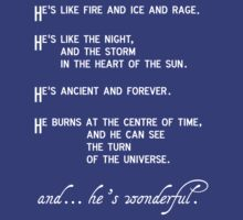 """""""He's like fire and ice and rage"""" doctor who quote by julieinkc"""