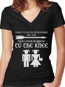 I used to be an adventurer (White) Women's Fitted V-Neck T-Shirt