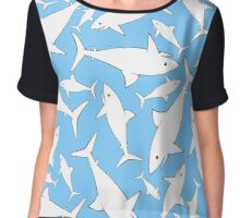 Shark Pattern Sky Blue Chiffon Top