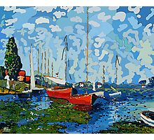 Red Boats Claude Monet inspiration Photographic Print