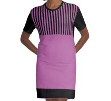 Trendy Radiant Orchid Chic Black Stripes Graphic T-Shirt Dress