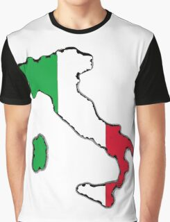 Italy Map With Italian Flag Graphic T-Shirt