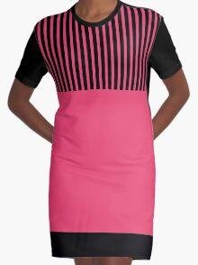 Trendy Cayenne Red Chic Black Stripes Graphic T-Shirt Dress