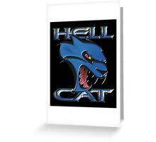 Hellcat Head - B5 Blue Greeting Card