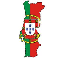 Portugal Map With Portuguese Flag Photographic Print