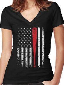 Baseball American Flag USA Support T-Shirt Women's Fitted V-Neck T-Shirt