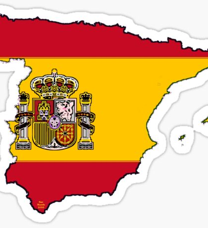 Spain Map With Spanish Flag Sticker