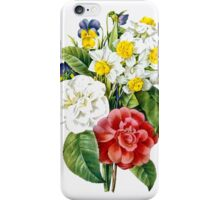 P.J. Redoute vintage colorful flowers botanical illustration.  pink and white camellia, yellow and white daffodils, blue and yellow pansies. iPhone Case/Skin