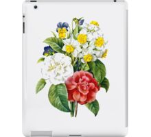 P.J. Redoute vintage colorful flowers botanical illustration.  pink and white camellia, yellow and white daffodils, blue and yellow pansies. iPad Case/Skin