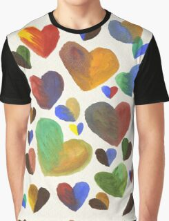 Hand-Painted Hearts in Colorful Chocolate Brown Graphic T-Shirt