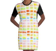 Hand-Painted Watercolor Colorful Pastel Rectangle Brush Strokes Graphic T-Shirt Dress