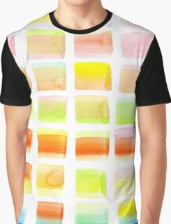 Hand-Painted Watercolor Colorful Pastel Rectangle Brush Strokes Graphic T-Shirt
