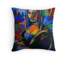 Abstract Mona Lisa Throw Pillow