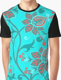 Red Aqua Teal Cute Girly Floral Graphic T-Shirt