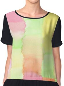 Hand-Painted Abstract Watercolor Green Orange Red Yellow Chiffon Top
