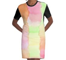 Hand-Painted Abstract Watercolor Green Orange Red Yellow Graphic T-Shirt Dress