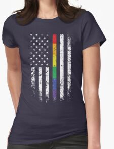 Rainbow Thin Line American Flag T-Shirt, Gay Pride Day Shirts Womens Fitted T-Shirt